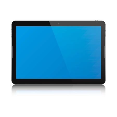 palmtop: Modern touch screen tablet computer isolated on white background. Tablet computer with blank blue screen and reflection. Vector illustration.