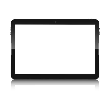 palmtop: Modern touch screen tablet computer isolated on white background. Tablet computer with blank white screen and reflection. Vector illustration.
