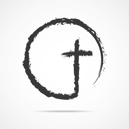 Christelijke kruis pictogram in de cirkel. Zwart christelijk dwarsteken dat op witte achtergrond wordt geïsoleerd. Vector illustratie. Stock Illustratie