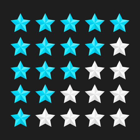 Star rating template with colored stars. Concepts of quality product or service. Stars rating isolated on black background. Vector illustration. Illustration