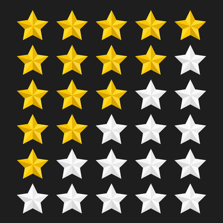 classify: Star rating template with colored stars. Concepts of quality product or service. Stars rating isolated on black background. Vector illustration. Illustration