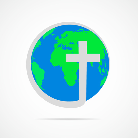 Christian cross icon with globe Earth. Vector illustration. Globe Earth isolated on white background.