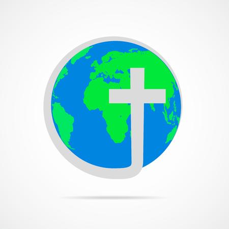 Christelijk dwarspictogram met bolaarde. Vector illustratie. Bolaarde op witte achtergrond wordt geïsoleerd die. Stockfoto - 67721581