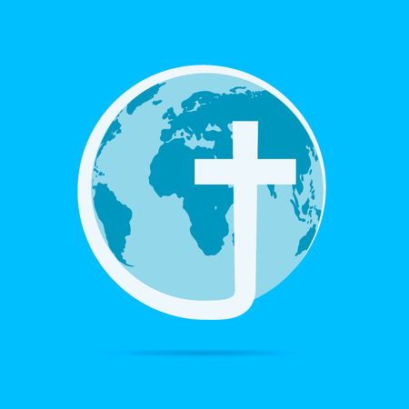 Christian cross icon with globe Earth. Vector illustration. Globe Earth isolated on blue background. Vector Illustration
