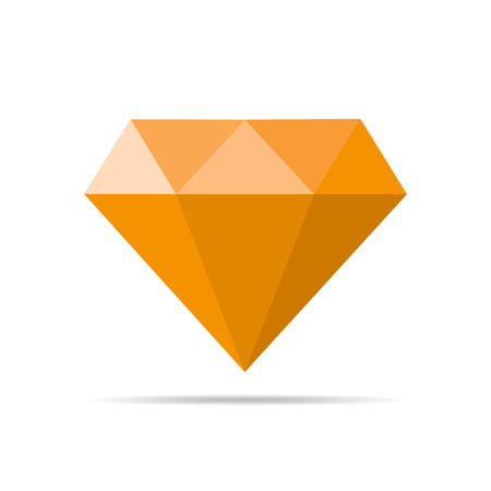 orange sign: Simple diamond icon in flat design. Vector illustration. Orange sign of diamond isolated on white background. Illustration