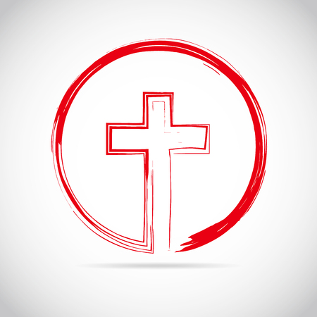 protection of the bible: Christian cross icon in the circle. Red christian cross sign isolated on white background. Vector illustration.