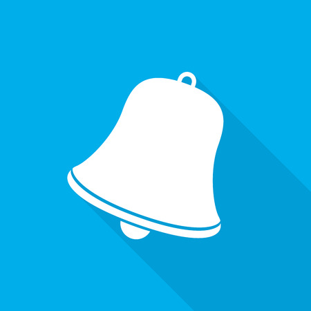 bell ringer: Handbell icon on blue background with long shadow. Simple white handbell sign. Vector illustration. Illustration