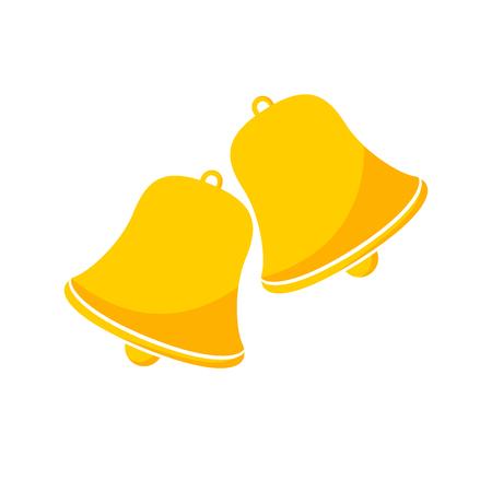 handbell: Christmas handbell icon isolated on white background. Simple yellow handbells sign. Vector illustration.