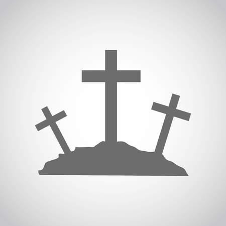 golgotha: Gray Calvary icon with three crosses on light background. Vector illustration. Calvary sign in flat design.