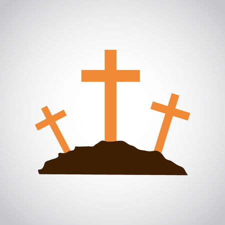 Calvary icon with three orange crosses on light background. Vector illustration. Calvary sign in flat design.