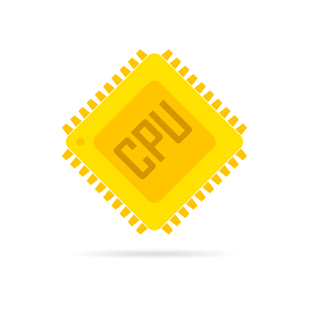 Yellow chip icon in flat design. Simple microchip icon. Microcircuit flat sign. Vector illustration. Illustration
