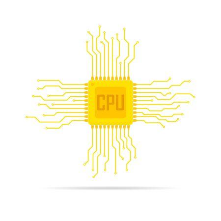 microcircuit: Yellow chip icon in flat design. Simple microchip circuit board. Microcircuit flat sign. Vector illustration. Illustration