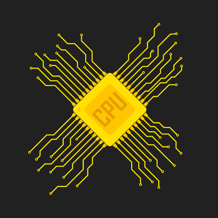 Yellow chip icon in flat design. Simple microchip circuit board. Microcircuit flat sign. Vector illustration. Illustration
