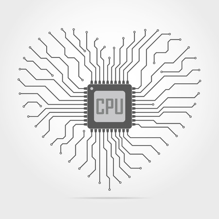 electronic board: Gray electronic circuit board with chip in shape of heart. Vector illustration. Abstract technology background.