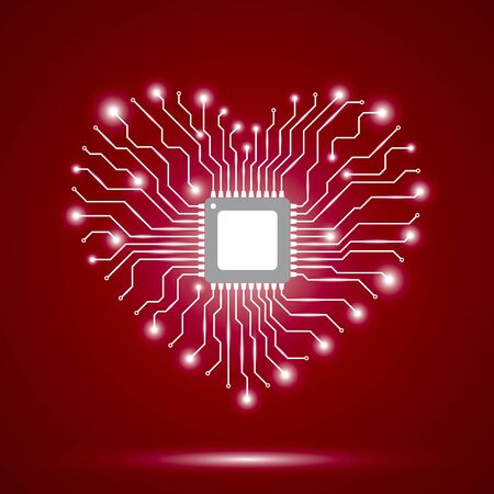 Abstract background with electronic circuit board and chip. Red background with shiny heart. Vector illustration.