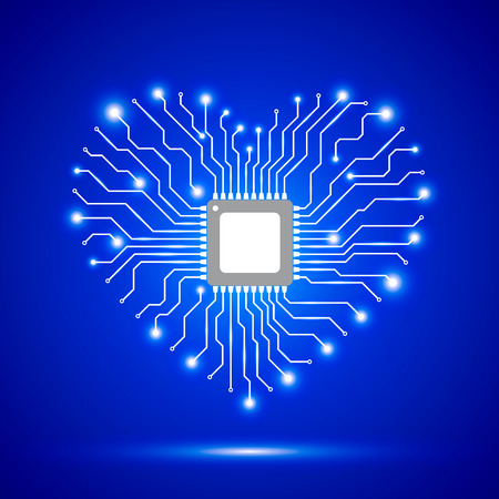 electronic board: Abstract background with electronic circuit board and chip. Blue background with shiny heart. Vector illustration.