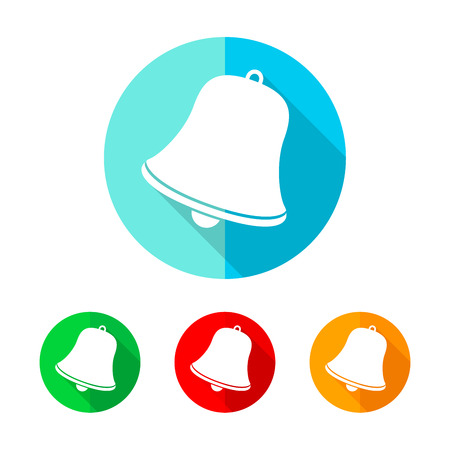 handbell: Set of colored handbell icons. White handbell with long shadow. Vector illustration. Handbell icon on a the round button.