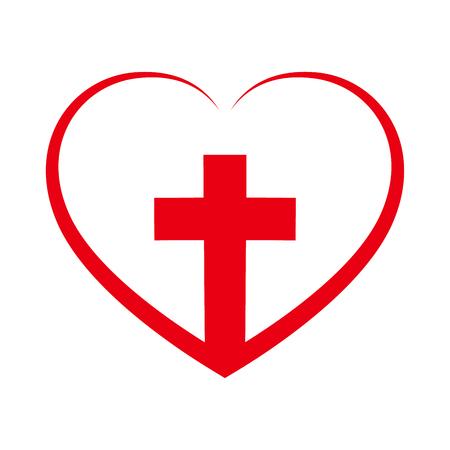 Christian Croix icône dans le coeur à l'intérieur. Signe de croix chrétienne rouge isolé sur fond blanc. Illustration vectorielle Symbole chrétien.