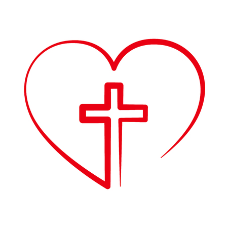 Christian cross icon in the heart inside. Red christian cross sign isolated on white background. Vector illustration. Christian symbol. Imagens - 68354215