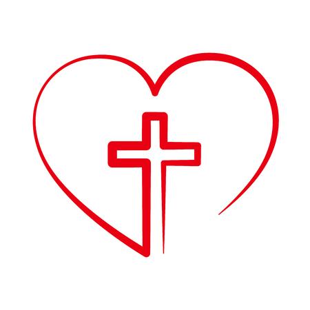 Cristiano icono de la cruz en el interior del corazón. Muestra roja de la cruz cristiana aislados sobre fondo blanco. Ilustración del vector. símbolo cristiano.
