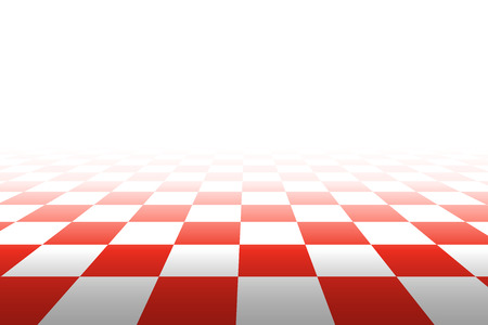 Checkered background in perspective. Squares - red and white. Vector illustration. Illustration