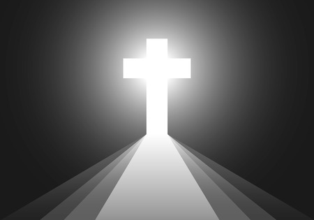 Cross icon - vector illustration. Simple Christian cross sign. White cross on black background with rays of light. Concept of the life after death. 일러스트