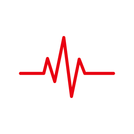 pulsating: Red heartbeat icon. Vector illustration. Heartbeat sign in flat design. Heartbeat isolated. Illustration