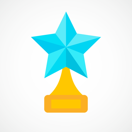 star award: Star award on blank trophy. Reward icon isolated on white background. Star reward in flat design. Vector illustration. Concept of success or victory.