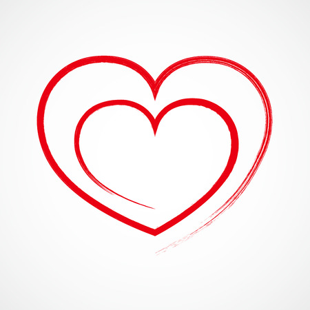 Abstract hand drawn heart shape. Vector illustration. Red heart icon. The heart as a symbol of love. Иллюстрация