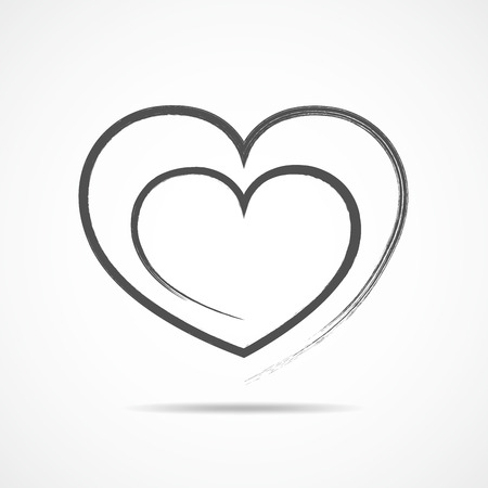 heart abstract: Abstract heart shape outline. Vector illustration. Gray heart icon in flat style. The heart as a symbol of love.