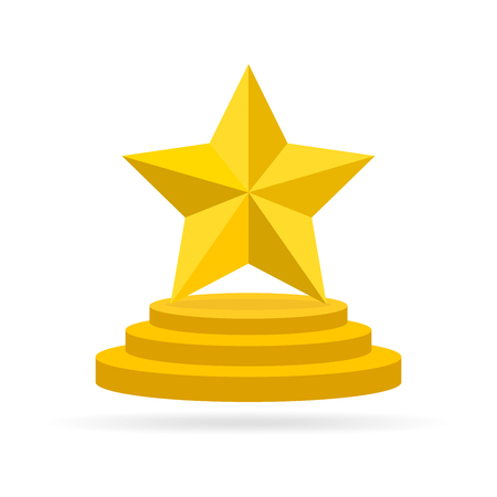 star award: Gold star award on blank trophy. Reward icon isolated on white background. Star reward in flat design. Vector illustration. Concept of success or victory.