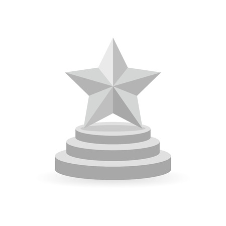 star award: Star award on the round trophy. Gray reward icon isolated on white background. Star reward in flat design. Vector illustration. Concept of success or victory.