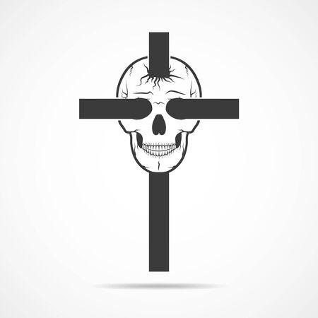 cranio umano nero con croce cristiana, isolato su sfondo chiaro. illustrazione di vettore