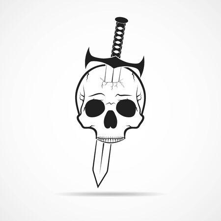 Human skull slain by a sword. Skull and sword, isolated on light background. Vector illustration Illustration
