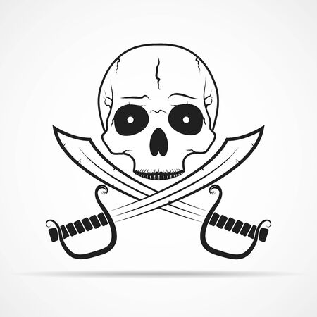 Human skull and two swords isolated on light background. Vector illustration Illustration