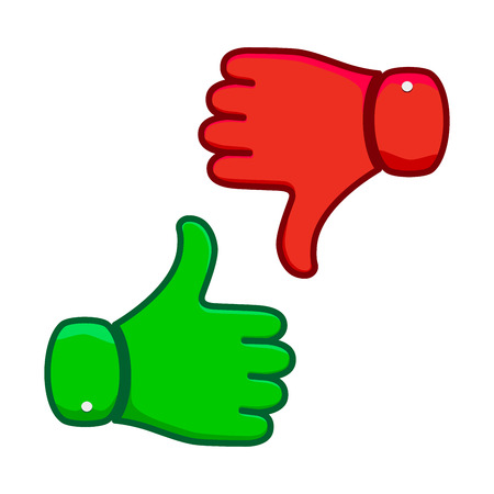 Thumb up icon isolated. Vector illustration. Thumb up and down in flat design. Illustration