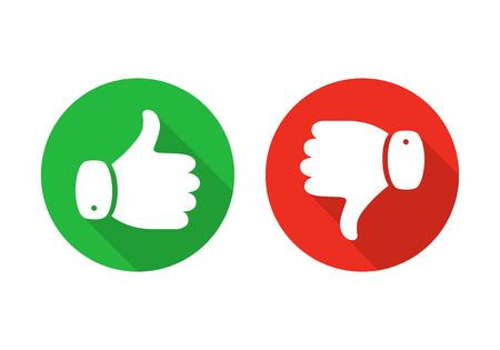 Thumb up icon isolated. Vector illustration. Thumb up and down on a the round buttons, in flat design.