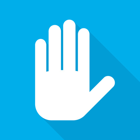 handful: Palm of the human hand sign. White palm of hand icon with long shadow on blue background. Vector illustration.