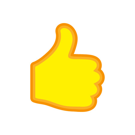 Thumb up icon isolated. Vector illustration. I like concept. Yellow hand with thumb up in flat design. Illustration
