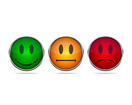 Smiley se enfrenta a iconos de calificación. Ilustración del vector. emoticones rojas, amarillas y verdes aisladas.