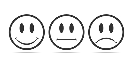 Smiley faces rating icons. Vector illustration. Gray round smilies with shadow isolated on white background.