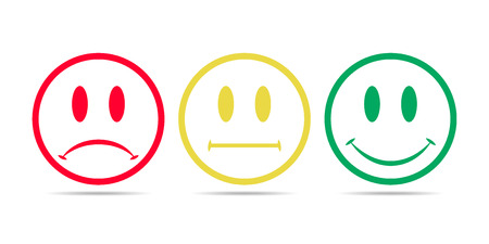 Smiley faces rating icons. Vector illustration. Red, yellow and green smilies isolated.