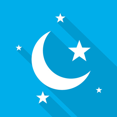 Sleep icon. Night moon and star icon. White night icon with long shadow on blue background. Vector illustration.