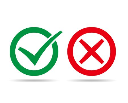 Check and wrong marks. Vector illustration. Green checkmark and cross mark, in circle on white background.