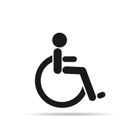 invalid: The disabled black icon. Black invalid icon. Vector illustration. Human on wheelchair. Illustration