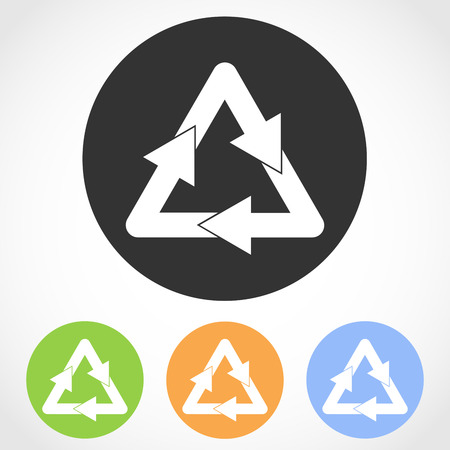 Recycling icon on the round button. Vector illustration. Set of flat icons the of recycling in four color versions Ilustrace