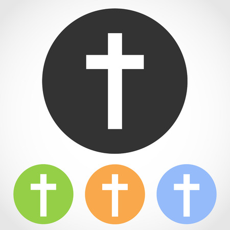 Christian cross icon on the round button. Vector illustration. Set of flat icons the of christian cross in four color versions.