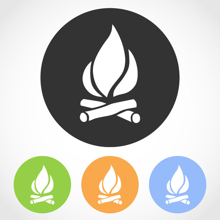 Bonfire icon on the round button. Vector illustration. Set of flat icons the of bonfire in four color versions