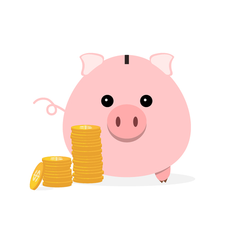 Piggy bank with cash money and coins. Vector illustration. Piggy bank and cash money isolated on white background.