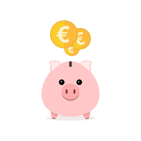 Pink piggy bank and coins isolated. Piggy bank with falling coins in flat design. Gold euro coins. Vector illustration.